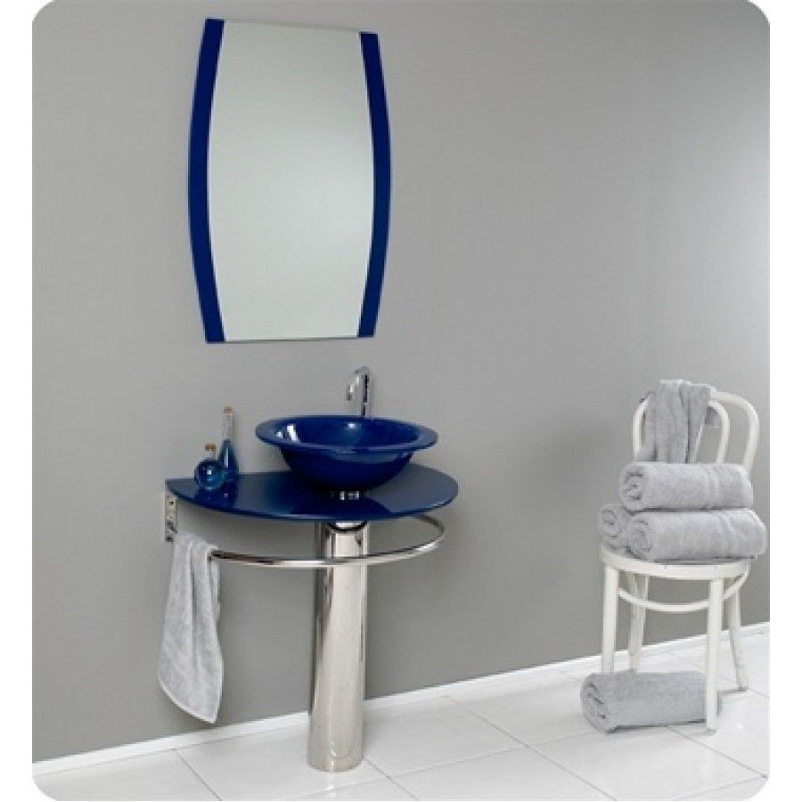 30 Inch Wall Mounted Single Chrome Metal Pedestal Bathroom Vanity