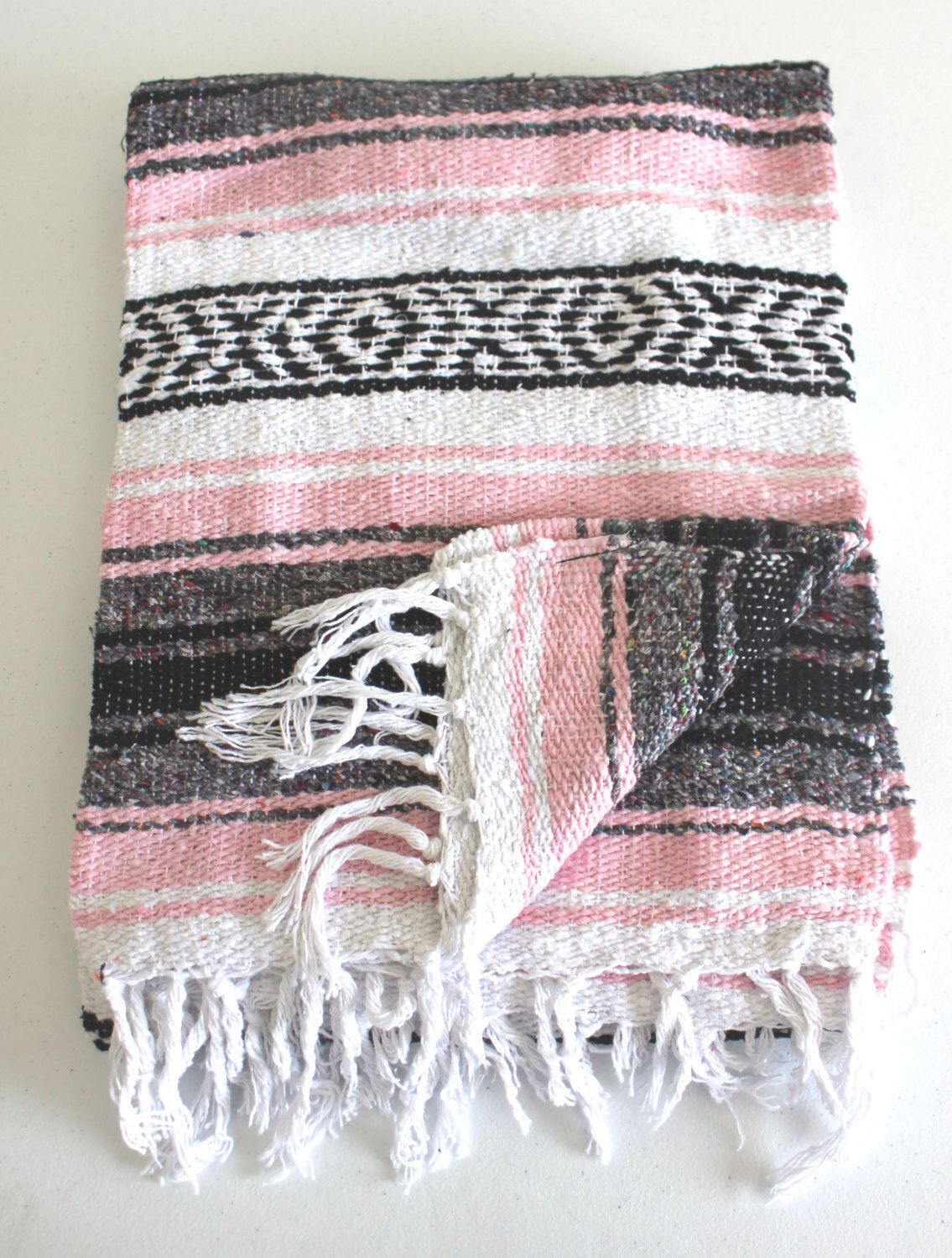 Light Pink Mexican Blanket Beach Blanket Vintage Style By