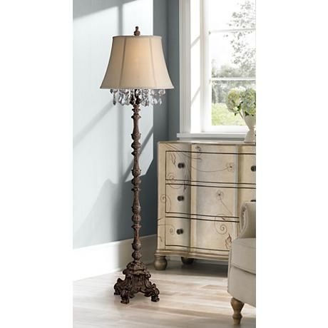 Duval french crystal candlestick floor lamp style 7j447 with intricate details throughout the base and lamp body this candlestick floor lamp features a aloadofball Choice Image