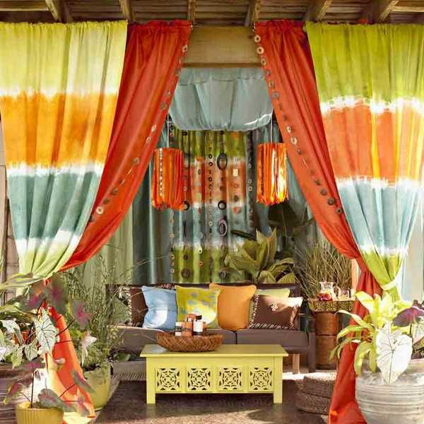 Bright Summer Decorating With Colorful Curtain Fabrics And Outdoor Decor Accessories