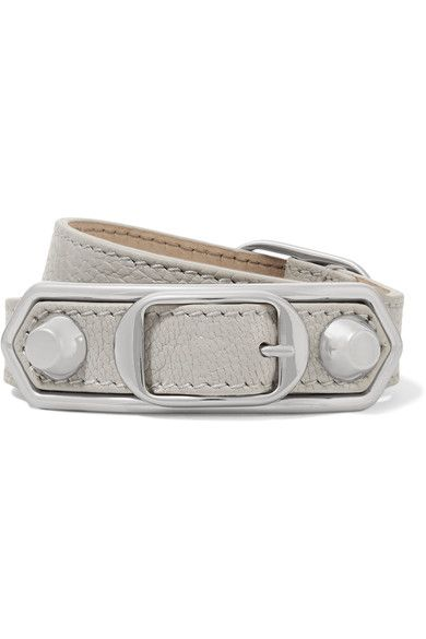 f4519c053474c Balenciaga - Triple Tour Textured-leather And Silver-tone Bracelet ...