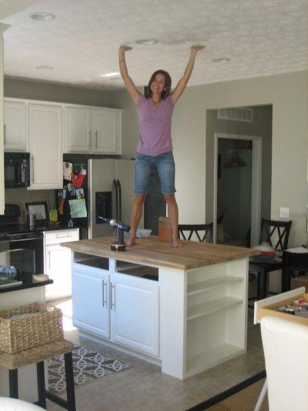 Diy Kitchen Island Get A Base Cabinet Of Choice Add A Shelf On