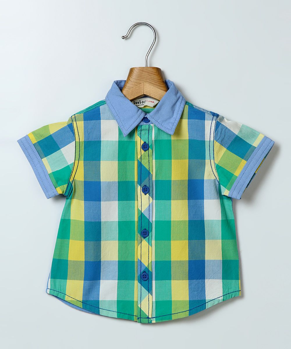 01dc0c1a107b Green   Yellow Checkerboard Button-Up - Infant   Boys