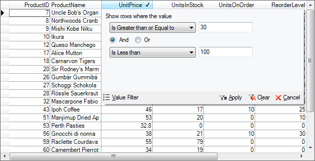 In True DBGrid for WinForms, you can use conditional