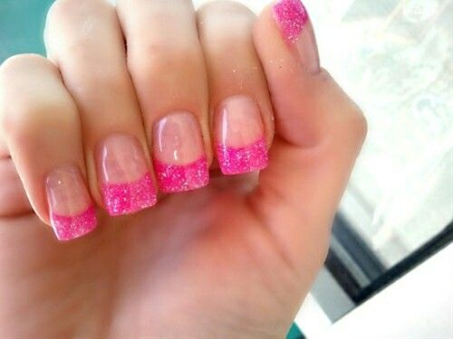 Hot Pink Acrylic Powder Nails This Is A Must Do Next Time I Go Get Fill Pink Glitter Nails Pink Acrylic Nails Pink Nails