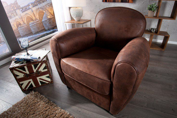 Design Retro Sessel Whiskey Club Mikrofaser Vintage Cigar Braun Riess Ambiente De Sessel Armlehnen Wohnzimmer Sessel
