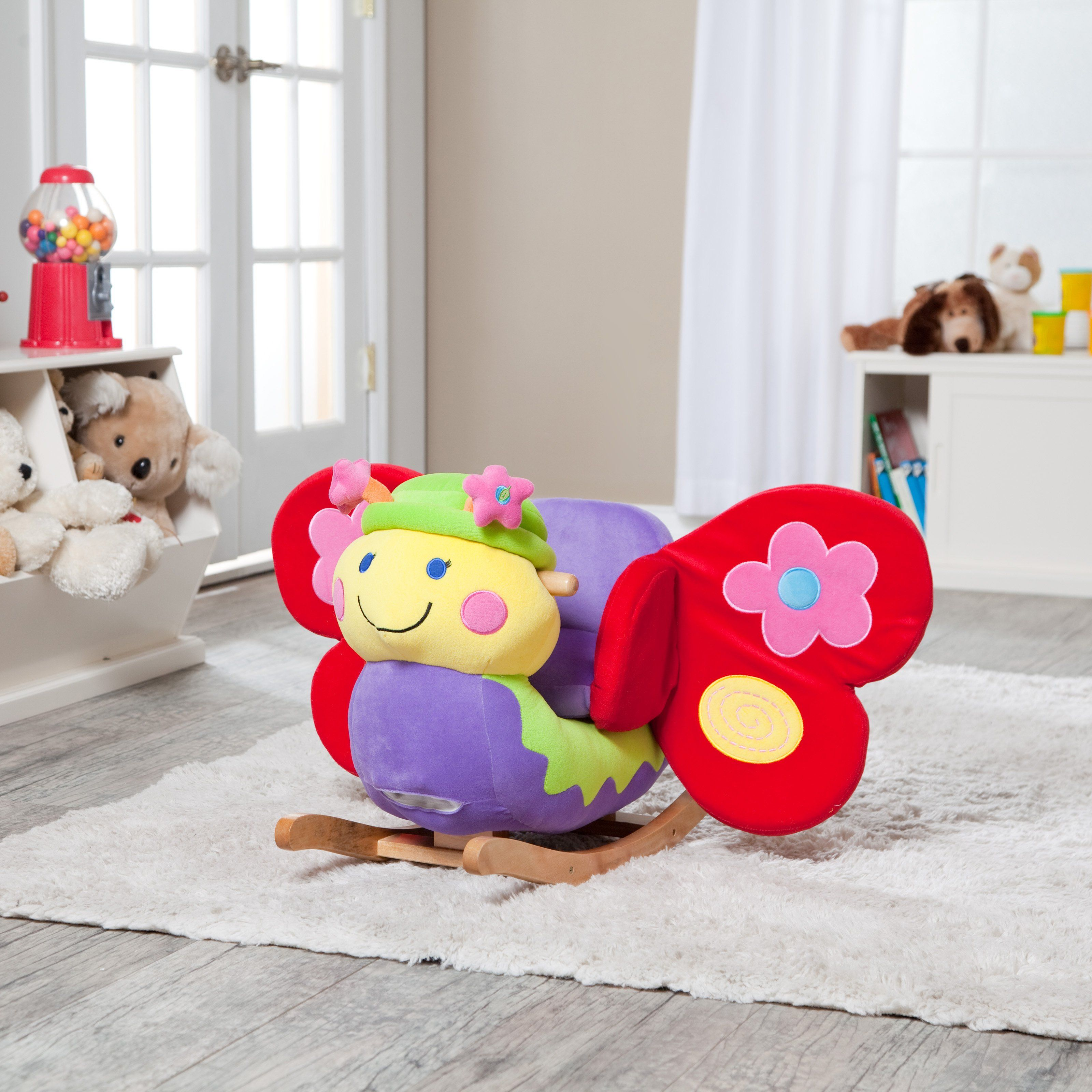 Betty Butterfly Rocker - The bright and colorful Charm Butterfly Rocker will delight your kids with endless hours of play. Squeeze the butterfly's antenna, and they can sing (...