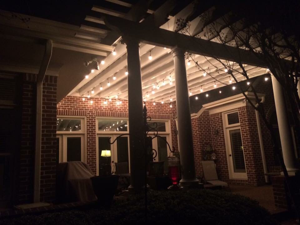 String Lights In Pergola : Edison bulbs on a backyard patio. Red brick. Pergola. Edison string lights. Backyard & Patio ...