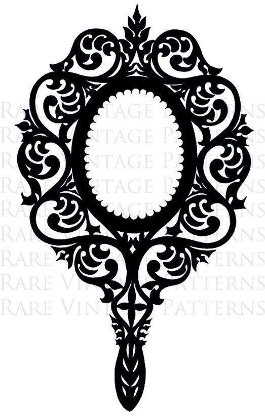 Victorian Ornate Hand Mirror Stencil 2 X Files Jpg Png Etsy Hand Mirror Stencils Mirror Pattern