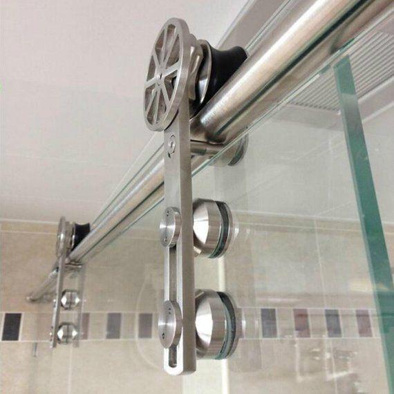 Rotatable Spoke Wheel Movable Decoration Core Modern European Brushed Stainless Steel Glass Sliding Shower Door Hardware Shower Doors Frameless Shower