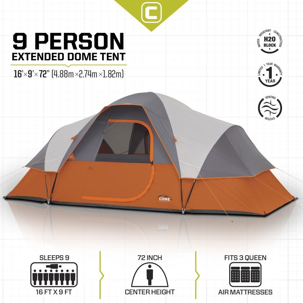 details about 9 person family extended dome tent 16u0027 x 9u0027 outdoor hike sport canopy new tent