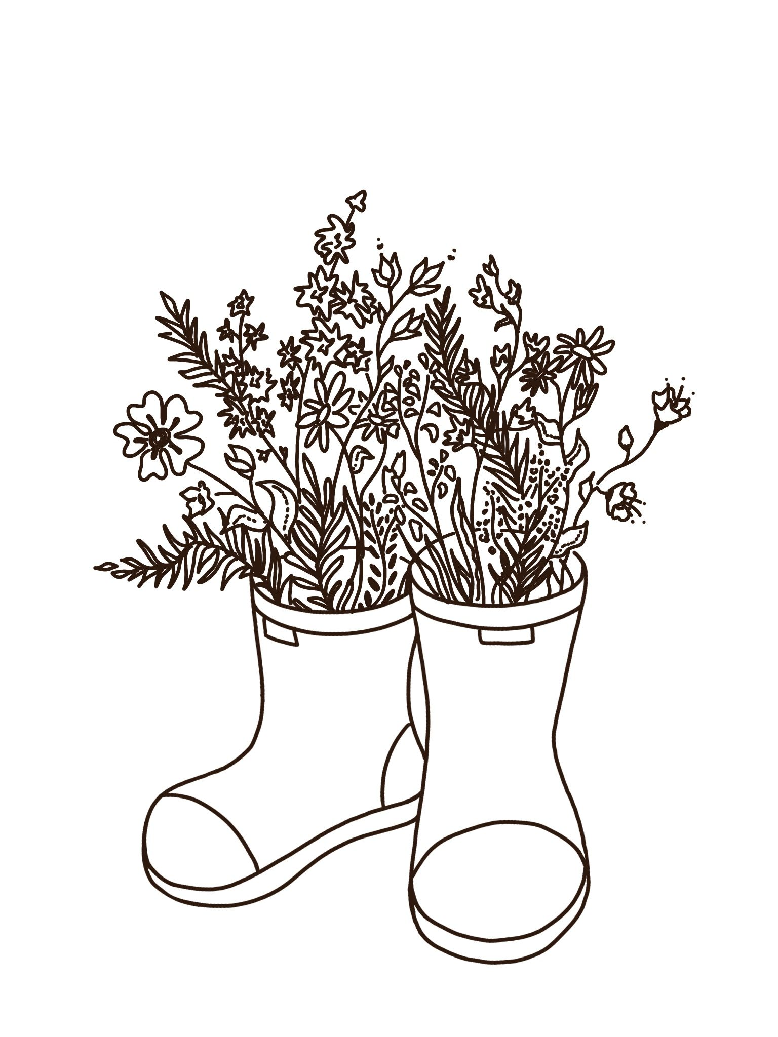 Minimalist Rain Boots And Flower Tattoo Rain Tattoo