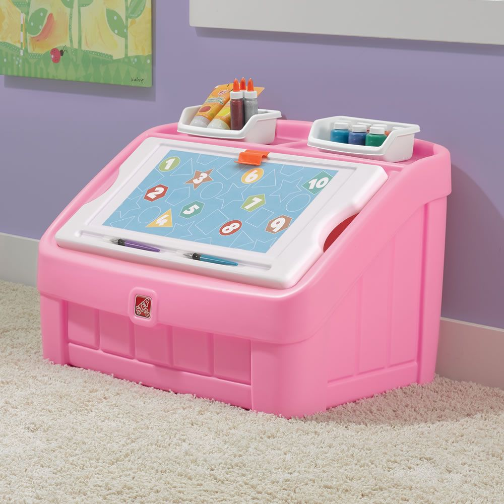 2-in-1 Toy Box & Art Lid - Pink | Kids Toy Box | Step2