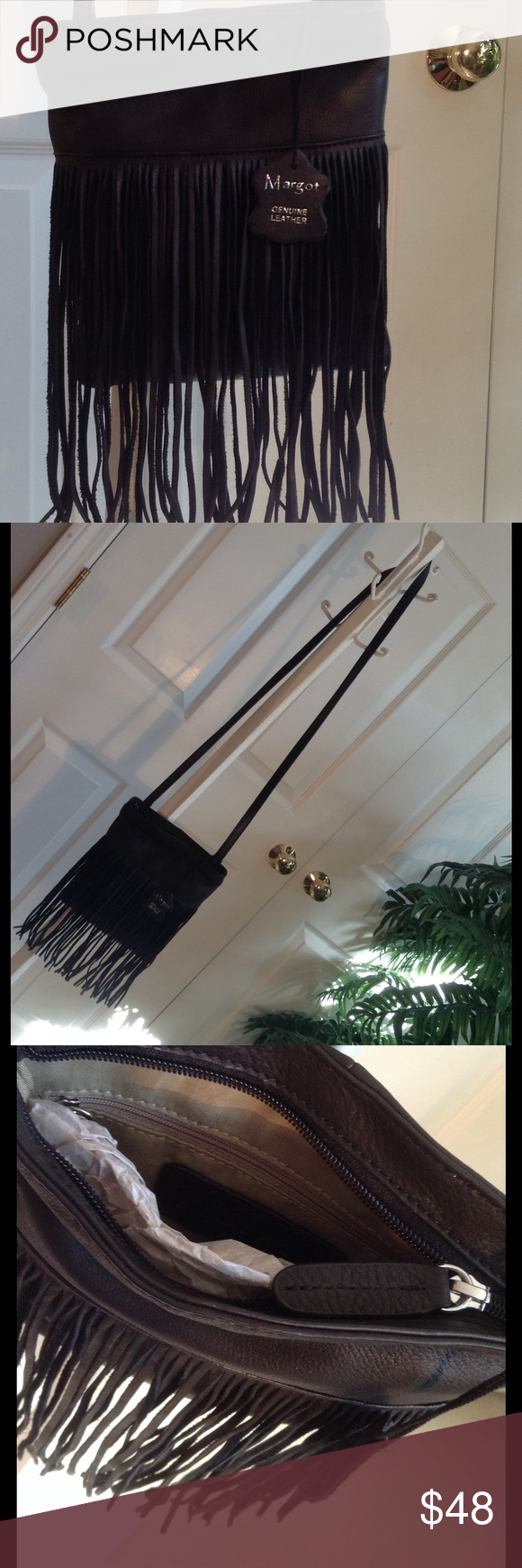 Perfect for night out!  Leather & fringe. Margot Small, soft leather bag. Like butter!  Zipper. Margot Bags