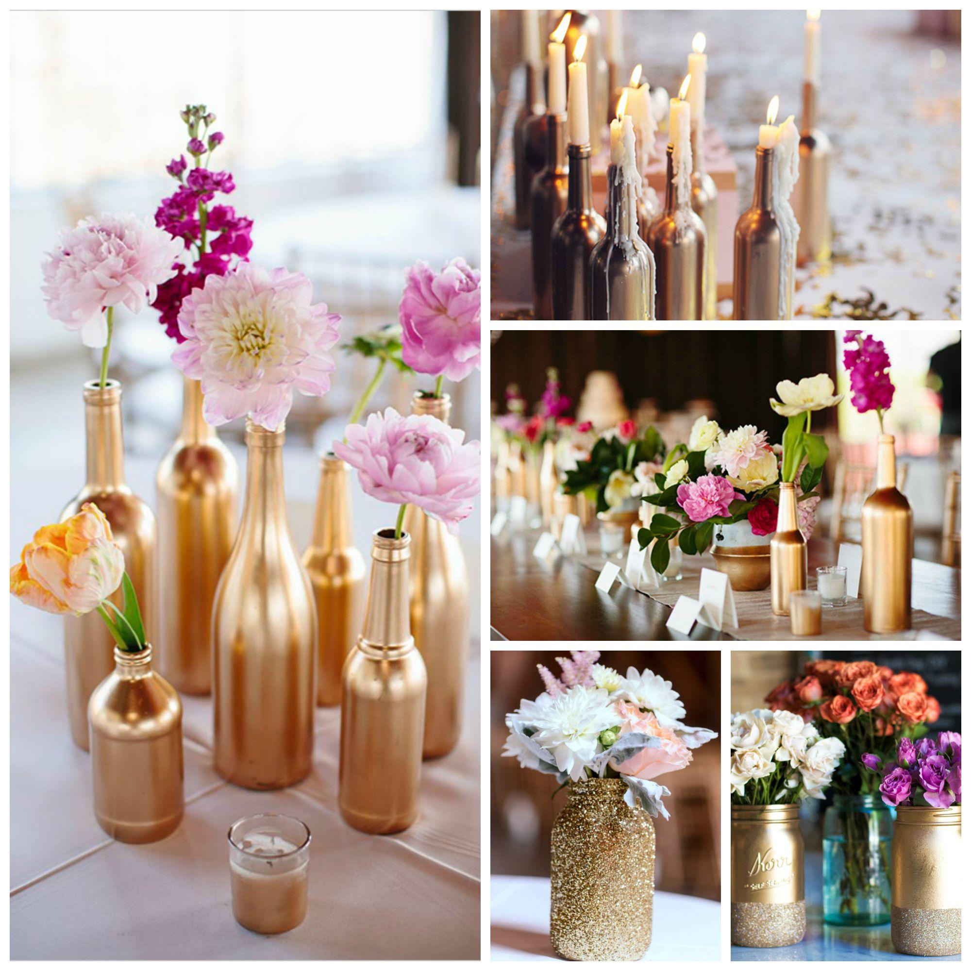 Bouteille façon DIY pour un mariage ou une fête glitter et doré