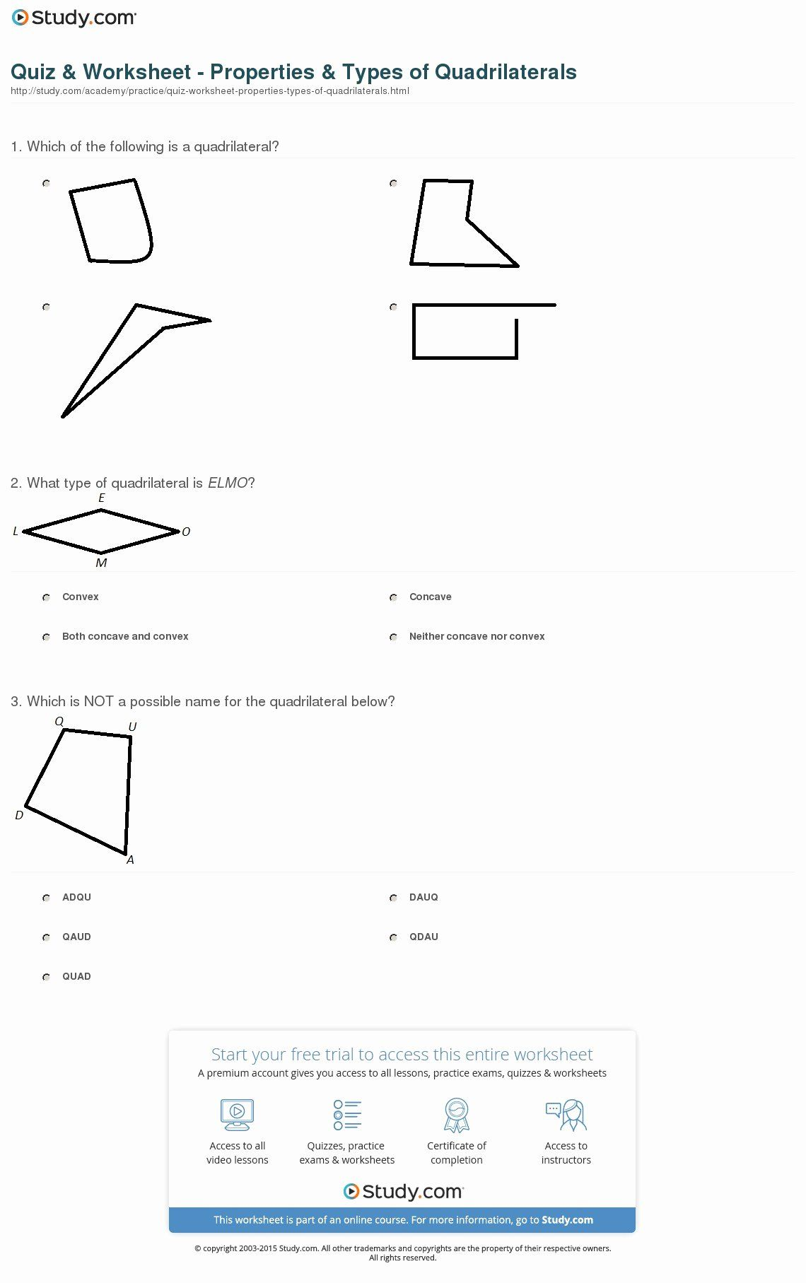 Properties Of Quadrilateral Worksheet Best Of Worksheet