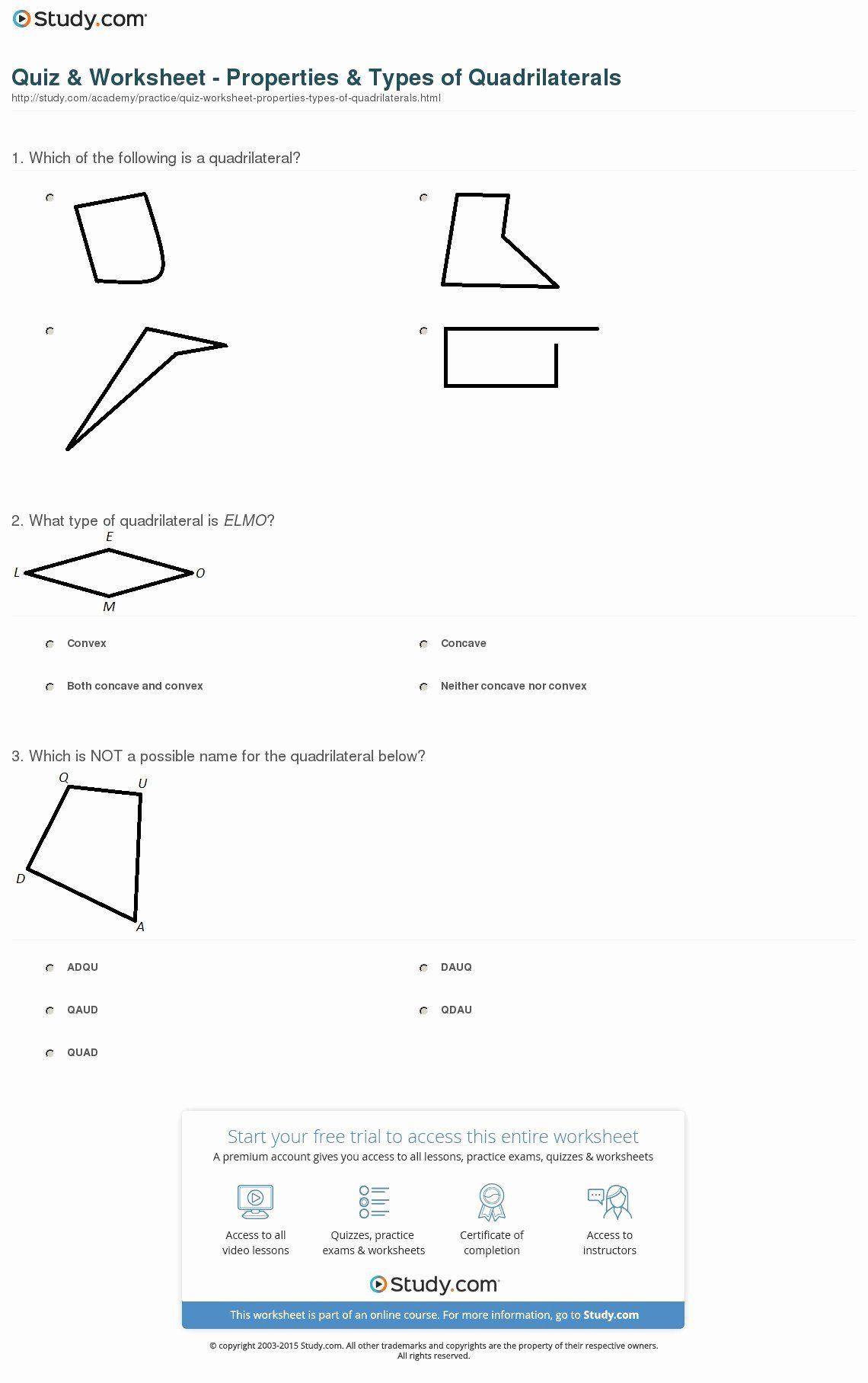 Properties Of Quadrilateral Worksheet Best Of Worksheet