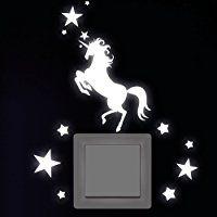Inspirational Wandtattoo Loft Einhorn mit Sternen Leuchtaufkleber f r Steckdose Lichtschalter oder die Wand