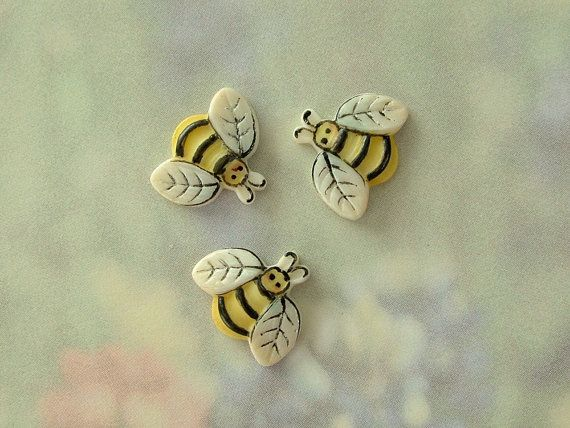 Bee Button set of 3 by goldsealproducts on Etsy