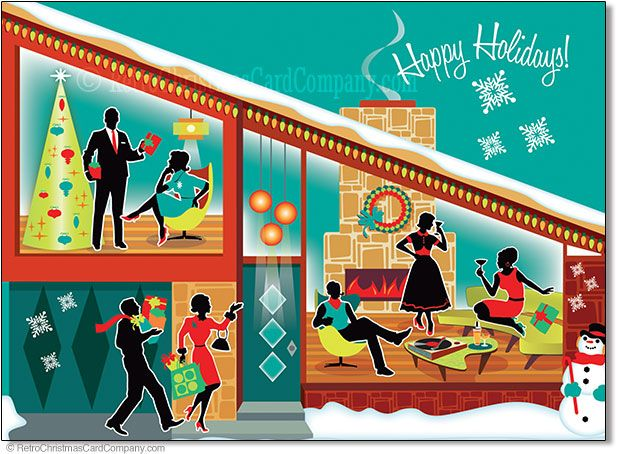 mid century modern house christmas cards package of 8 8 cards color envelopes 1200 folded card size 45x 625 inside greeting wishing you good