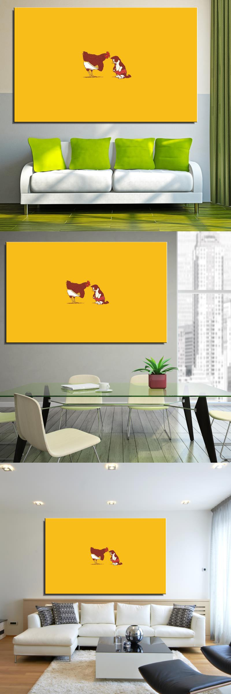Rooster and cat pant cute fun illust art Cartoon Abstract Home decor ...