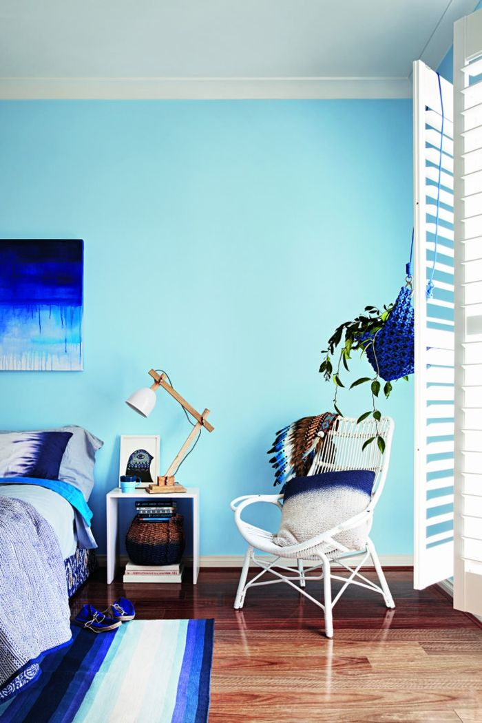Schon Wohnideen Schlafzimmer Hellblaue Wände Streifenteppich Frisch Mehr