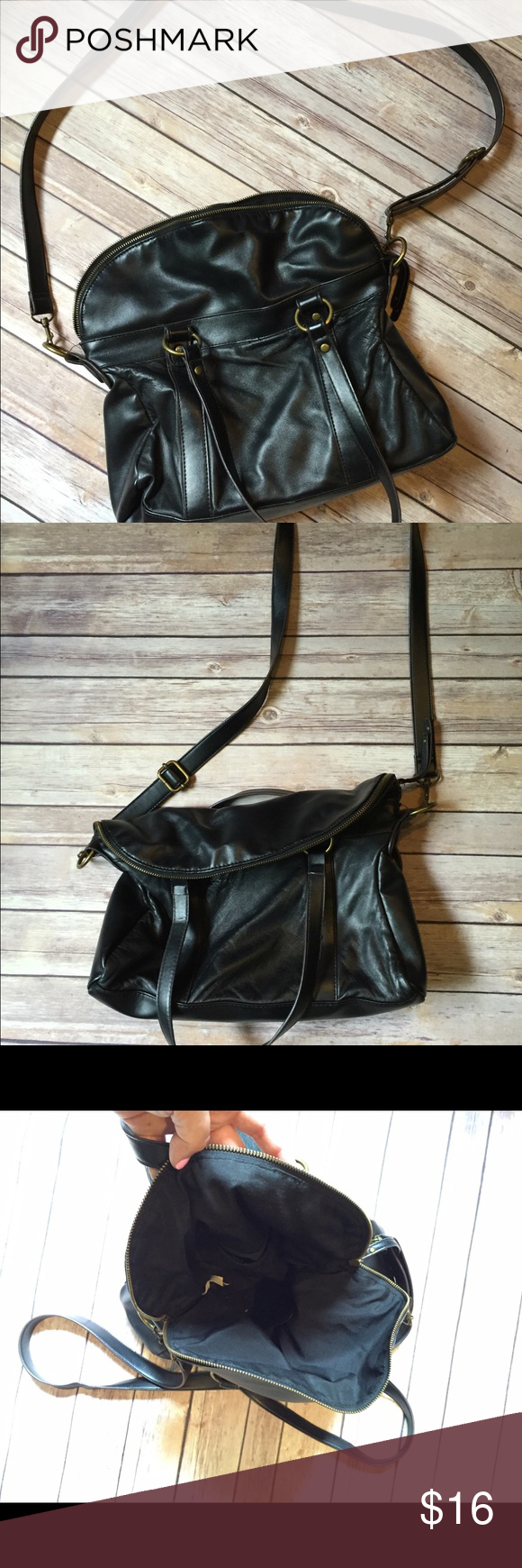 Uncategorized Leather Like Material black cross body slouchy bagpurse leather like material bag