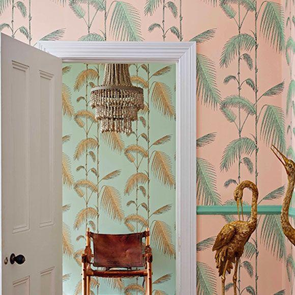 Papier peint Palm Leaves rose et vert – Collection Icons de Cole and Son