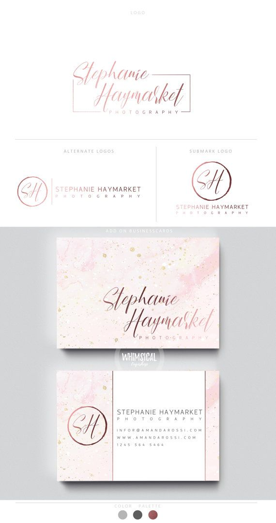 feminine script logo 2 rose gold neutral businesscards simple modern feminine branding
