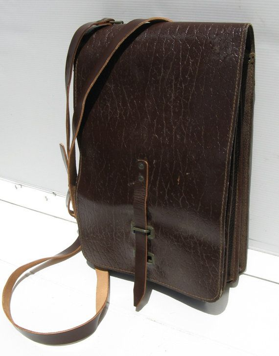 Back to School Sale! Vintage As-New Brown Leather European Army Pouch Shoulder Messenger Bag Tablet Case iPhone iPad Pannier