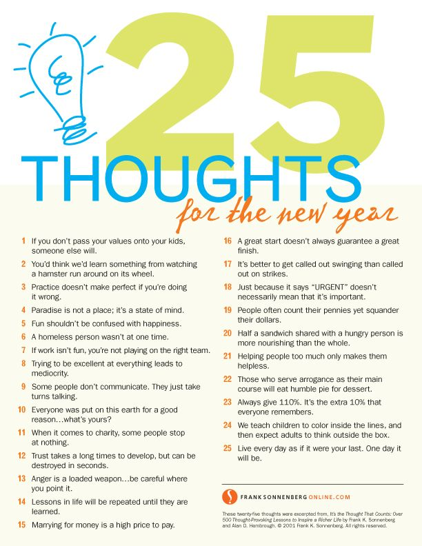 25 Thoughts for the New Year  | Values to Live By | www.FrankSonnenbergOnline.com