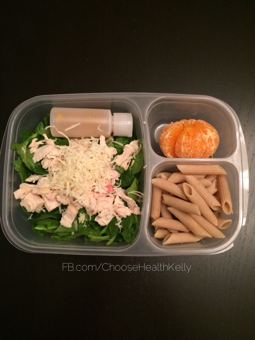#MyKidsLunch: spinach salad with chicken, cheese and homemade honey mustard.  Tangerine. Plain whole wheat pasta.  Fb.com/ChooseHealthKelly