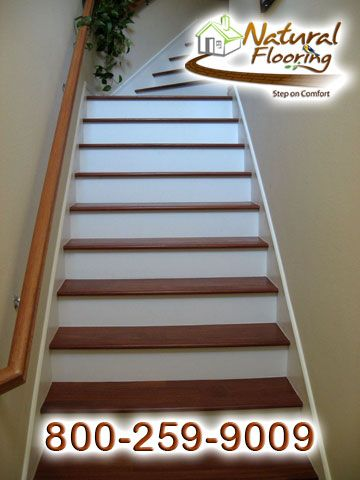 Best Santos Mahogany Treads With White Risers Natural 400 x 300