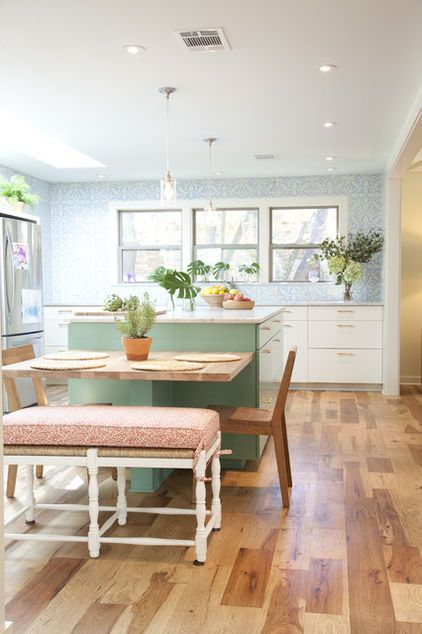 Good Create An Eat In Kitchen By Adding A Table Height Counter To The End Of An  Island. The Bench Seating Can Be Tucked Under Or Serve As Additional Seating  In ...