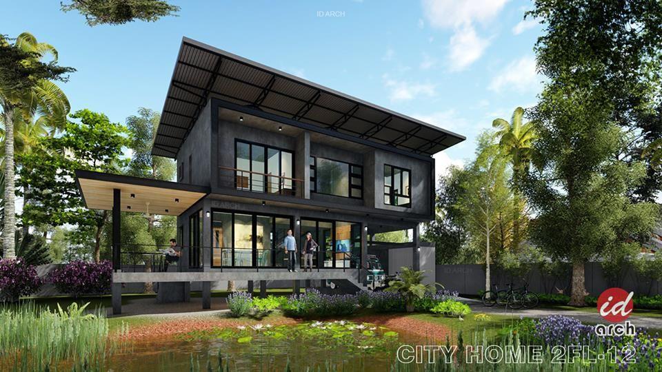 แบบบ าน 2 ช นสไตล โมเด ร นลอฟท 3 ห องนอน 3 ห องน ำ เสน ห ผน งป นเปล อย Ihome108 House Styles Loft House Modern Loft