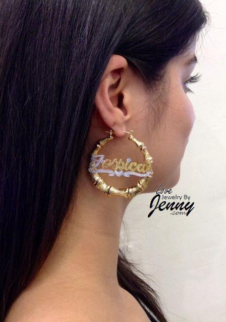 14k Gold Overlay Gp Bamboo 2 Inch Name Earrings