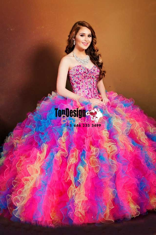2017 New Beaded Sweet 15 Dress Rainbow Color Vestidos De Fiesta ...