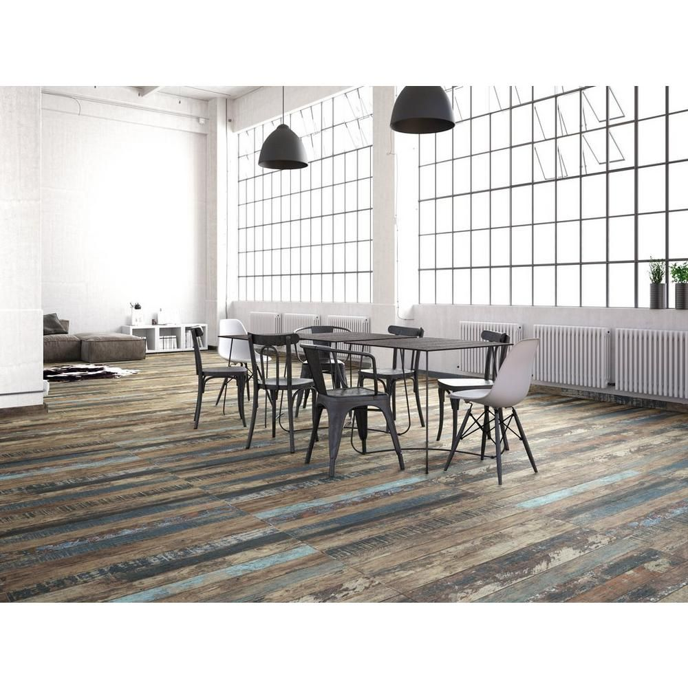 luck brown wood plank porcelain tile - 8in. x 45in. - 100085547