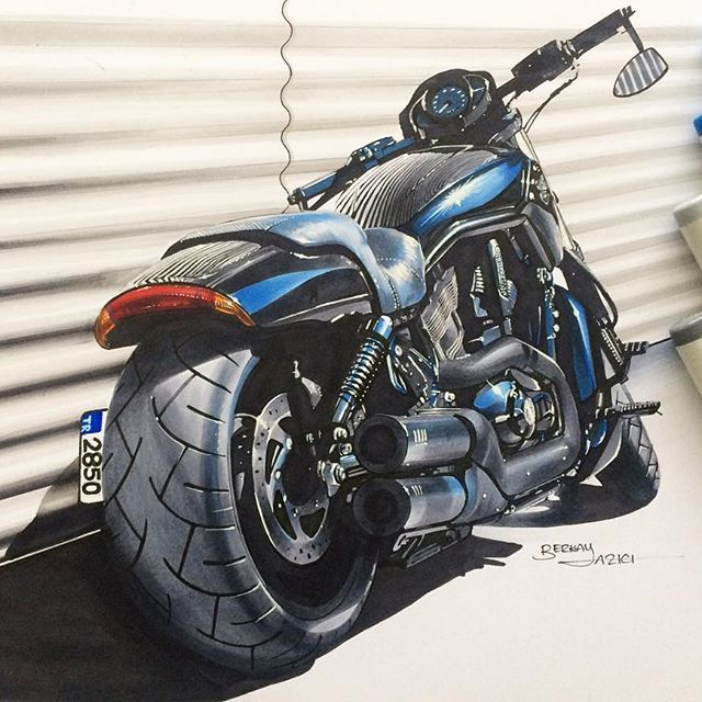 harleydavidson v rod vrod special custombike motorcycle copic