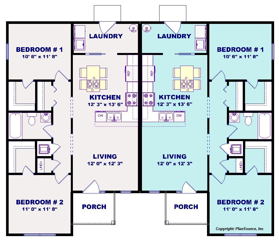 Duplex House Plan J1019 16d 2 Bedroom 1 Bath Plansource Inc Duplex House Plans Duplex Floor Plans Duplex House