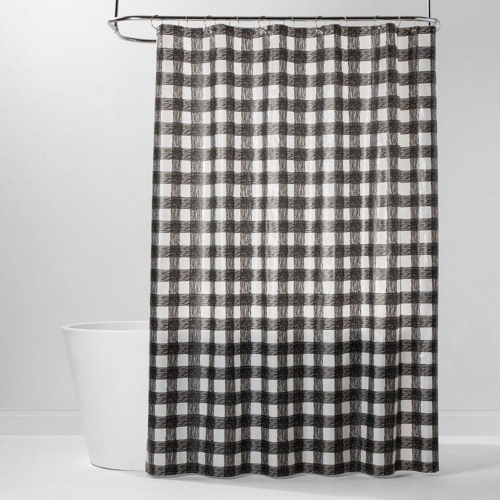 Peva Buffalo Plaid Shower Curtain Black White Room Essentials