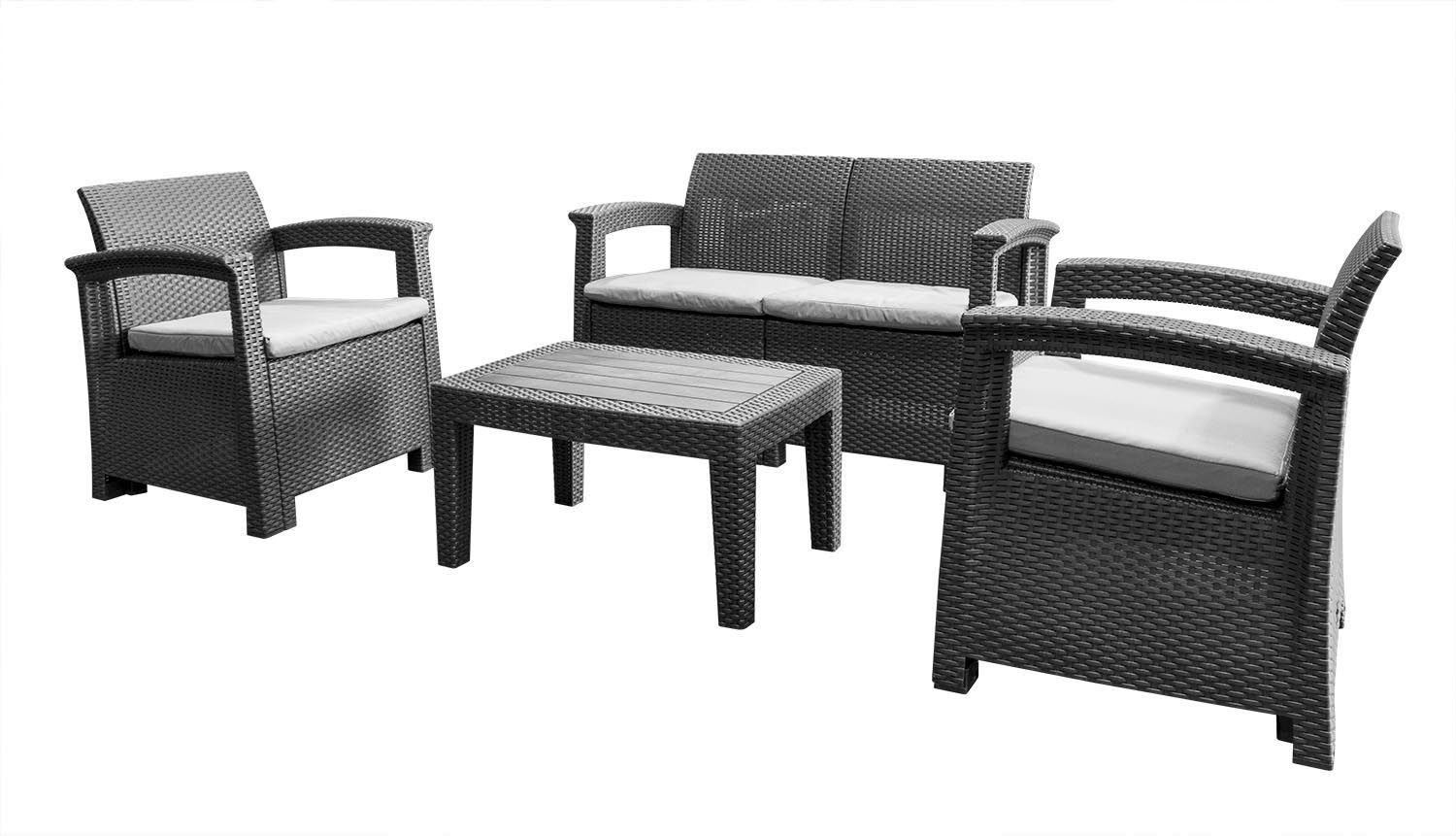 Ashby 10 Seater Grey Rattan Garden Furniture Set  Grey rattan