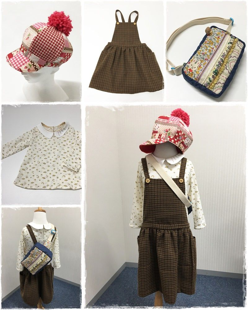 Arranging fleece as inner and cut-off knit ball as cap top for autumn and winter.  A jumper skirt with wool blend is perfect in Winter! Featuring flower image by sewing patterns round, a crossbody bag is mama's masterpiece. 帽子の内布にはフリース、余っていた毛糸はボンボンにしててっぺん と、秋冬仕様に◎ジャンプスカートもウール混で冬支度も完ぺき!お花をイメージして円形にミシンの縫い模様を施したボディバッグはママの力作^^ #preparationforwinter #effort #woolensuit #circlestitch #bodybag #forkids #sewing #handmade #JAGUAR