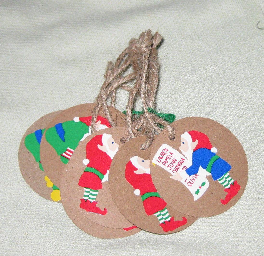 Santa's Elf Tags - 6  pcs by HarmoneesCreations on Etsy