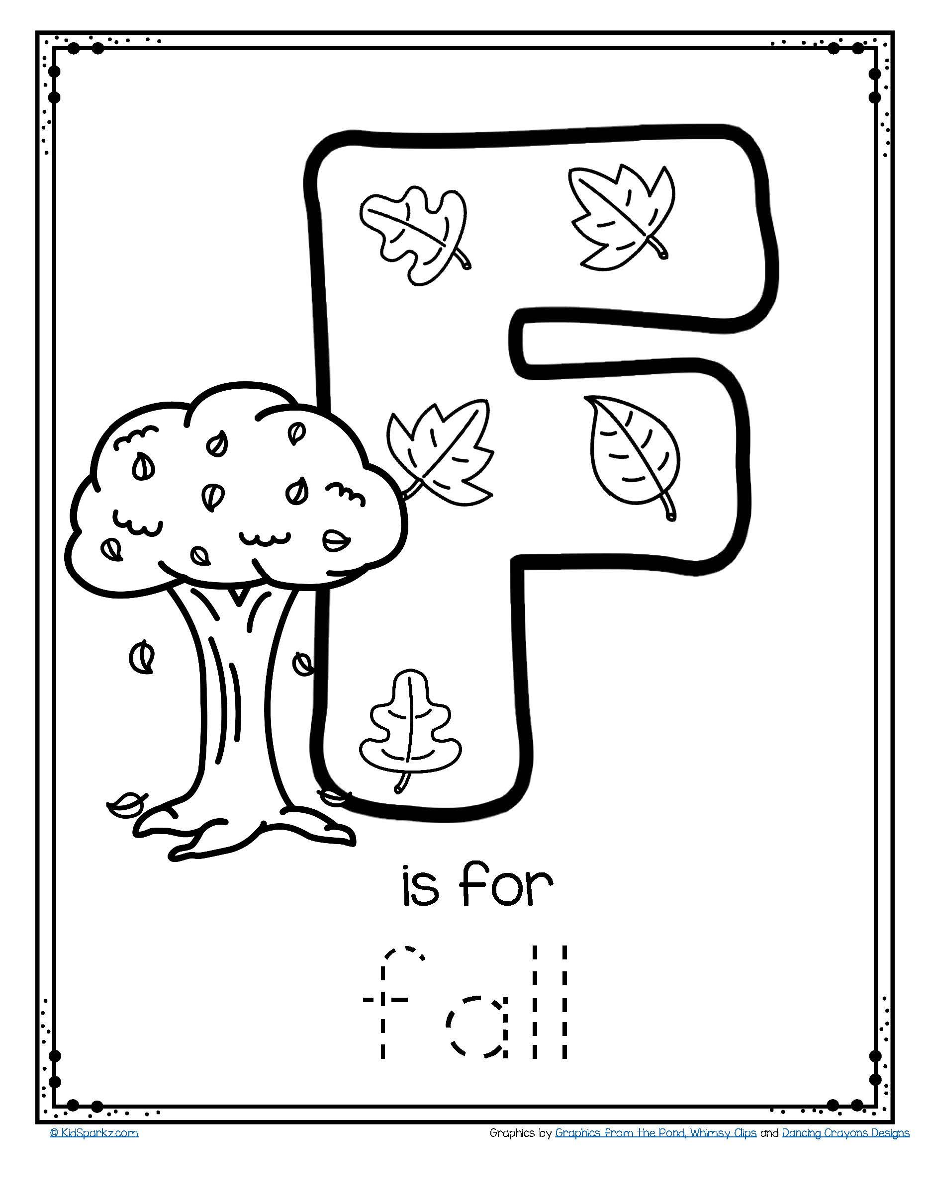 Free F Is For Fall Trace And Color Letter Printable