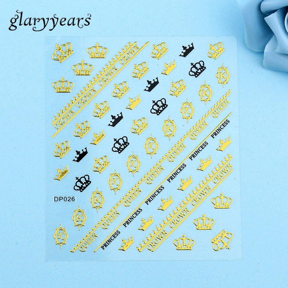 1 stück Schwarz Gold Crown Königin Englisch Brief Wort DIY Muster ...