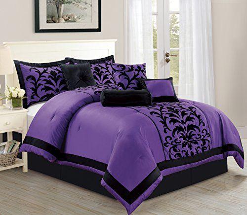 Empire Home Sarah 8 Piece Flocking Comforter Set Over Siz Https Www Amazon Com Dp B01jmb3oeq Re Comforter Sets Duvet Cover Master Bedroom Purple Comforter