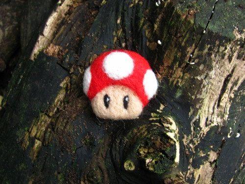 Super Mario Mushroom needle felted brooch