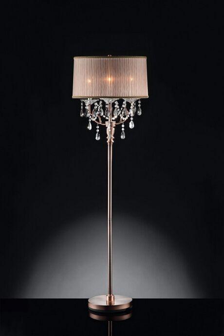L95126f Christina Hanging Crystals Floor Lamp With Sheer Barrel Lamp Shade Elegant Floor Lamps Crystal Floor Lamp Antique Floor Lamps