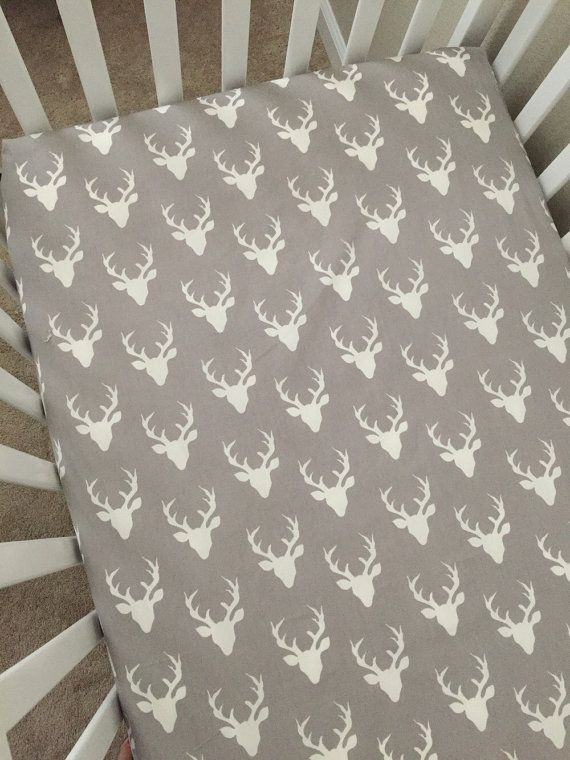 Crib Sheets Grey with Deer by 3LollipopGirls on Etsy